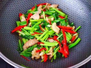 菜心红椒炒肉片,大火把所有食材,翻炒均匀即可关火。