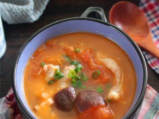 番茄蘑菇瘦肉汤,成品图