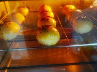 最美蛋黄酥,撒上芝麻,放入烘箱,180度烤20分钟即可