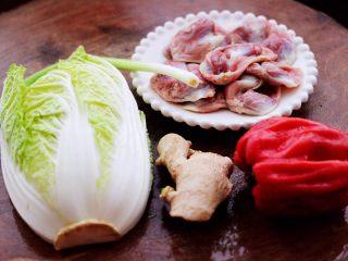 鸡胗爆炒大白菜,首先备齐所有的食材。