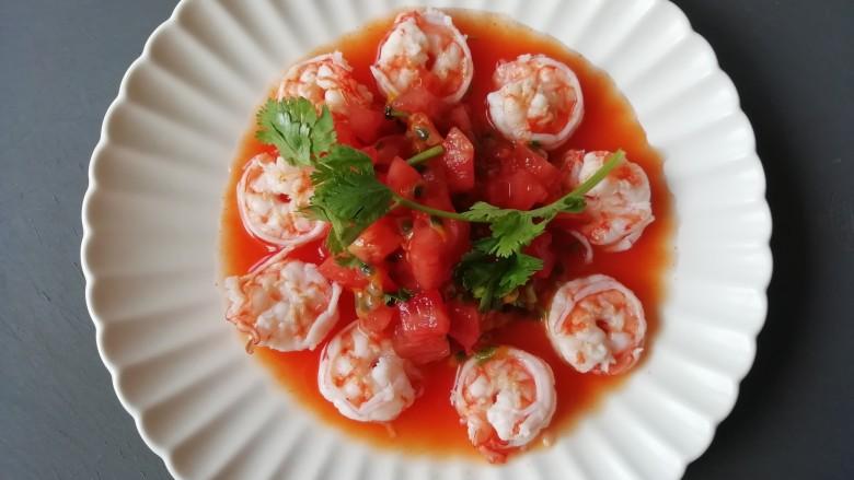 西红柿百香果凉拌虾