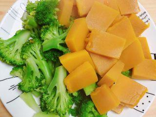 西兰花玉米鸡肉糕(芝士焗烤版),西兰花南瓜放凉待用。