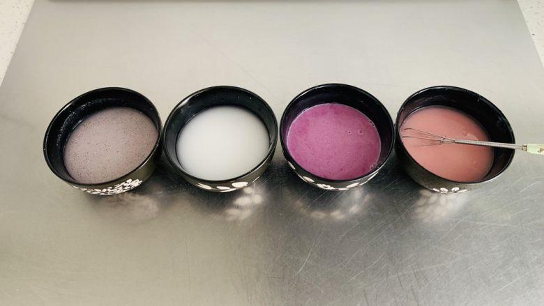 彩色广式肠粉,每个颜色加入80克的水搅拌均匀