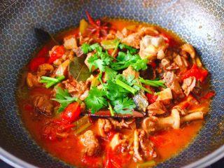 番茄啤酒炖鸭,看见锅中汤汁浓稠时,撒上香菜段即可关火。