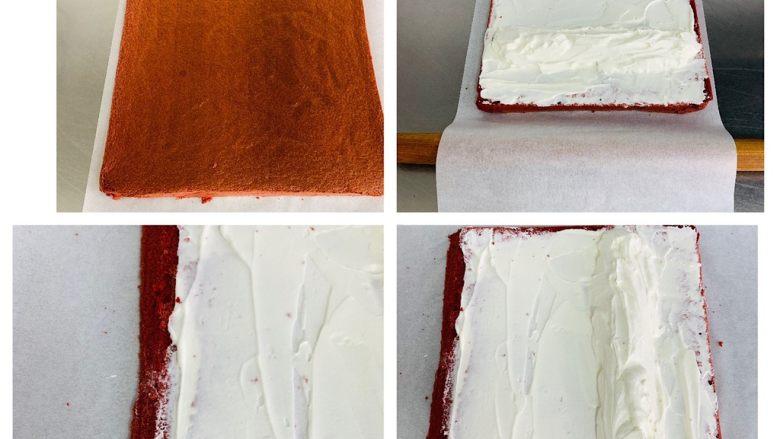 红丝绒蛋糕卷,出炉后,取出先晾2分钟,让蛋糕表皮散热干燥,不要立刻盖油纸翻面倒扣,那样热气会让表皮变湿润就会掉皮。 一侧45度角切去边缘,打好的奶油用抹刀抹到蛋卷上,尾端涂得薄一点比较好卷,另一侧抹成一个小山丘。 借助油纸和擀面杖,把蛋糕片卷起来,卷成一个蛋糕卷,然后用油纸包裹好,放在冰箱里冷藏过夜或30分钟,帮助蛋糕卷定型;