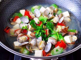 丝瓜花蛤炖豆腐,大火煮沸即可关火,撒上香菜段即可。