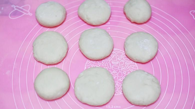 韭菜猪肉鸡蛋包子,发酵两次的面团加适量小苏打水,揉5分钟,搓成长条,切成大小均等的剂子。