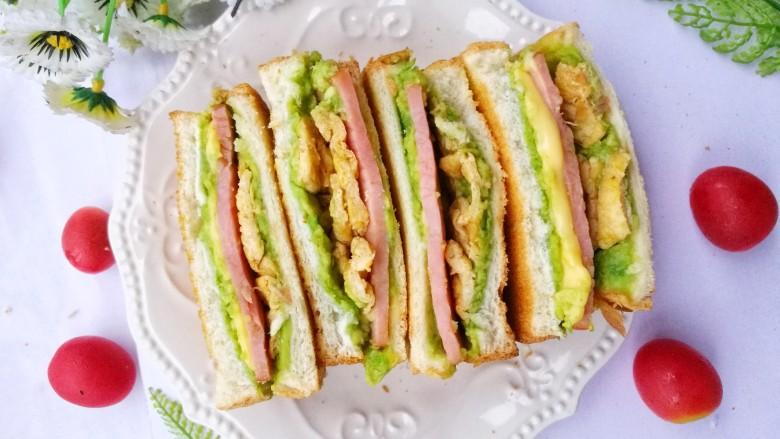 牛油果鸡蛋火腿三明治,超赞。
