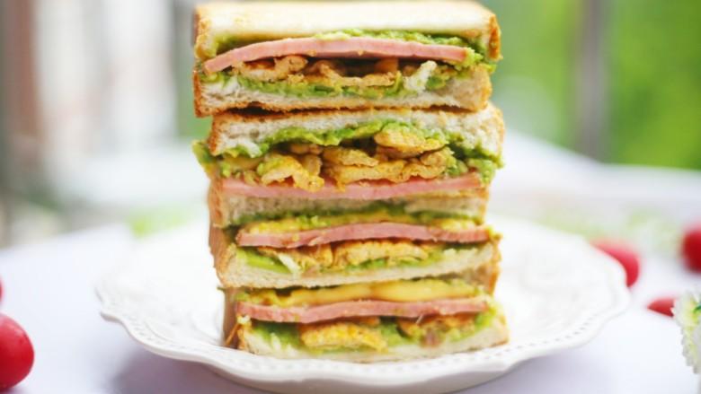 牛油果鸡蛋火腿三明治,做起来。