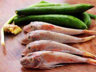 红蟹鱼炖丝瓜,先准备食材,丝瓜去皮后切成菱形块。