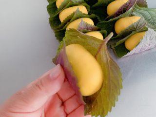 南瓜糯米苏耗子,提起叶子两边裹住面团。
