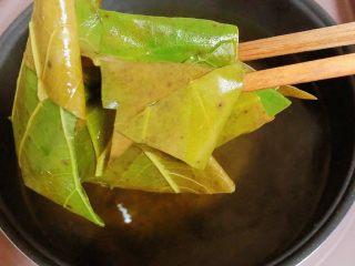 鲜荷叶百合莲子粥(清热解暑),荷叶水煮好了,将荷叶捞出去,只留下荷叶水。