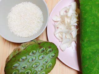 鲜荷叶百合莲子粥(清热解暑),准备好食材。荷叶、莲蓬、百合、大米。