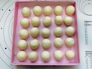 酸奶小餐包,依次将所有的小面团搓圆,整齐地排入烤盘里,中间隔开一定的距离,接着放入温度为36度,湿度为75%的温暖环境中进行第二次发酵。