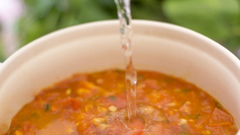 酸甜好吃又百搭的硬菜,绝对忍不住舔碗!,番茄炒至软烂后,锅中倒入适量的清水。