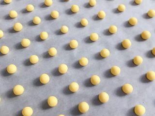旺旺小馒头,分成若干个小剂子,挨个搓圆放入垫有油纸的烤盘上,比黄豆粒稍微大一点,约1~2克均可。