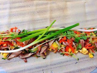 鸡蛋时蔬煎饼卷,煎饼展开铺平在一侧依次放入鸡蛋、时蔬、葱、香菜