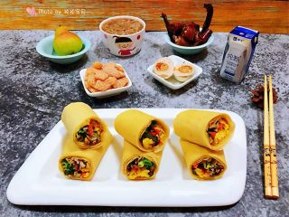 鸡蛋时蔬煎饼卷,一顿丰盛的早餐是开启幸福一天的主打动力