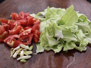 包菜番茄花蛤汤,把包菜用手撕成片,番茄用刀切成块,葱姜切丝。