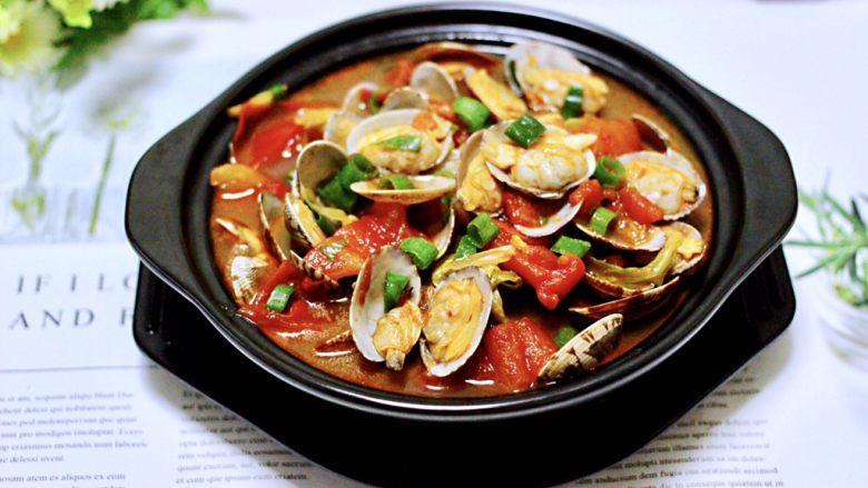 包菜番茄花蛤汤,成品一