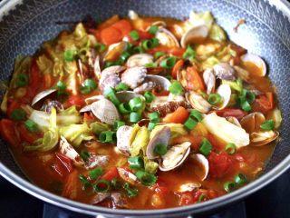 包菜番茄花蛤汤,关火,撒上葱花即可。
