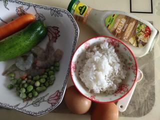 儿童趣味便当小金鱼蛋包饭,准备原料