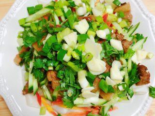 陕西油泼面(油泼裤带面),碗丁可以放上小葱末、蒜、香菜。