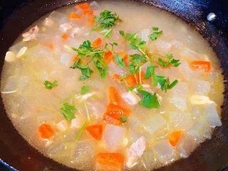 冬瓜胡萝卜肉丁汤,冬瓜煮至透明是放入盐和味精调味均匀最后撒上香菜即可出锅享用