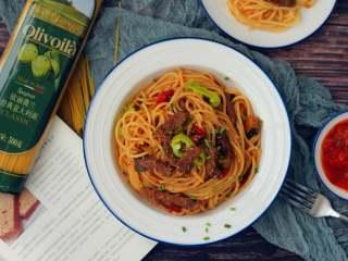 黑椒牛肉意面,自己做方便又美味。