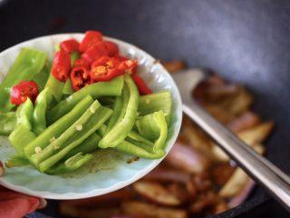 海虾肉片辣炒茄条,加入切条的青椒和切丁的红尖椒。