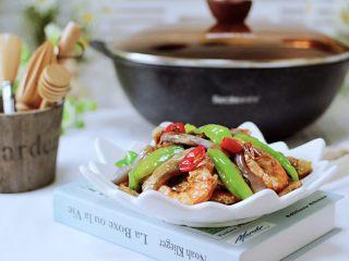 海虾肉片辣炒茄条,下饭又下酒,每次炒半锅都不够吃。