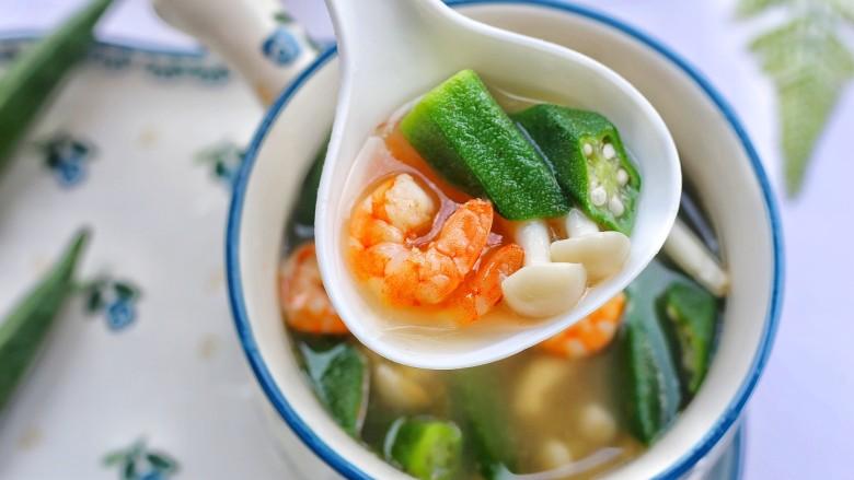 秋葵虾仁菌菇汤,好喝到停不下来。