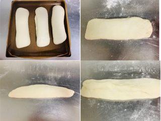 法棍🥖,发酵完成后取出轻拍几下,轻轻对折卷起。搓成30厘米长,两边搓尖面胚。再次进行发酵,30分钟。