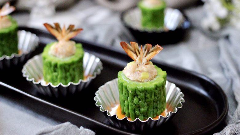 虾仁肉靡酿苦瓜,好吃不油腻。