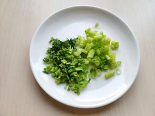 铁板豆腐,切少许的香葱和香菜碎。