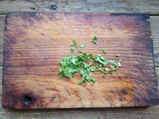 铁板豆腐,香菜切末。