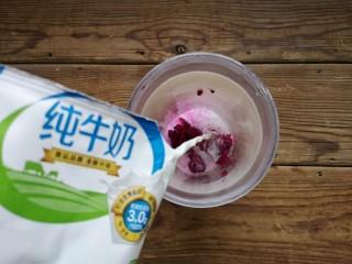 火龙果椰蓉奶冻,取1/4火龙果肉加入榨汁杯,加入1袋纯牛奶,打成火龙果牛奶。