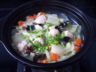 墨鱼丸子冬瓜木耳煲,看见鸡蛋液凝固成蛋花片状,冬瓜变成透明的时候,撒上香菜段即可。
