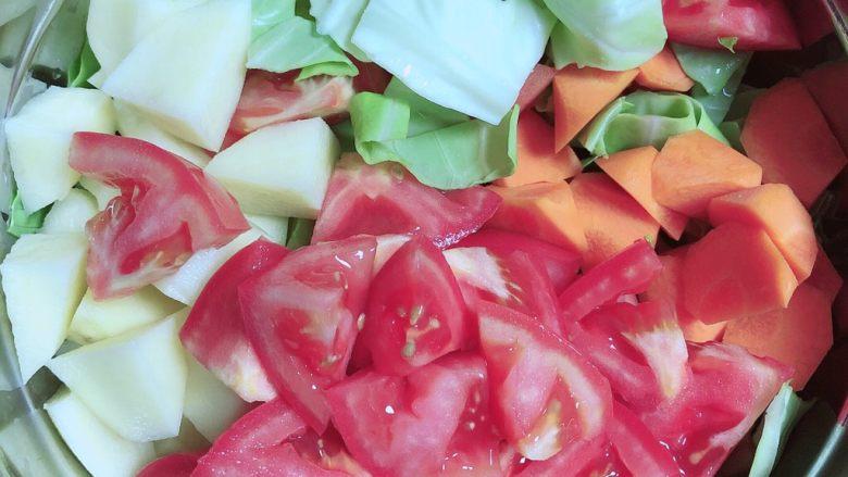 罗宋汤,西红柿、土豆、胡萝卜滚刀切块、圆白菜切2*3厘米的块。
