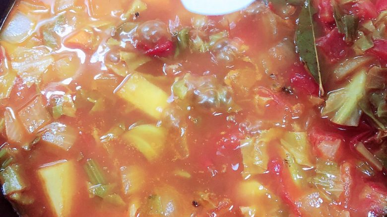 罗宋汤,炖煮10分钟后,土豆蔬菜都熟了,放入盐,烧开入味。