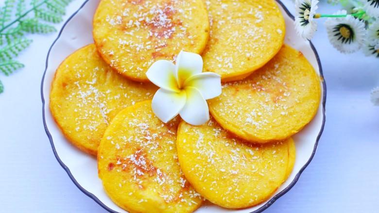 莲蓉馅南瓜椰蓉饼,成品。