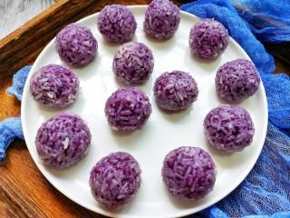 奶香紫薯糯米球,端盘上桌了,开动啦!