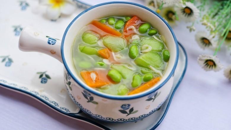 丝瓜毛豆虾米汤