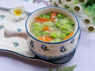 丝瓜毛豆虾米汤,成品。