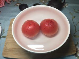 西红柿鸡蛋盖浇饭,放入碗里加入开水