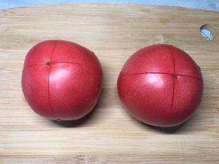西红柿鸡蛋盖浇饭,用刀划个十字