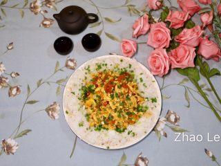 西红柿鸡蛋盖浇饭,炒好的西红柿鸡蛋浇在米饭上,撒上葱花即可