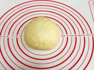 红枣司康,对折后揉成圆形,盖好保鲜膜室温发酵至两倍大。