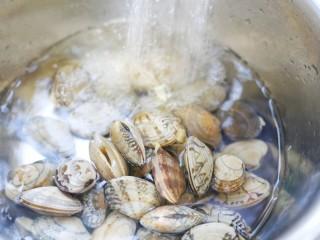 丝瓜花甲汤,流水冲洗。