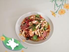 虾仁香肠炒菌菇